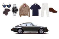 sharperman:  Unashemedly McQueen  Sunglasses:  Persol 714 Gloves:  Dents Watch: Rolex Submariner Jacket: Baracuta G9 Harrington in Tan Polo shirt: Lacoste custom fit polo Jeans: Levi 511 Boots: Sanders & Sanders 'Playboy' chukka Car: Porsche 911S 1971