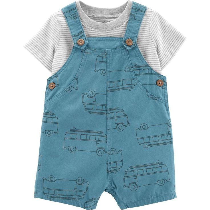 Baby Boy Carter's 2 Piece Striped Tee & Car Shortalls Set