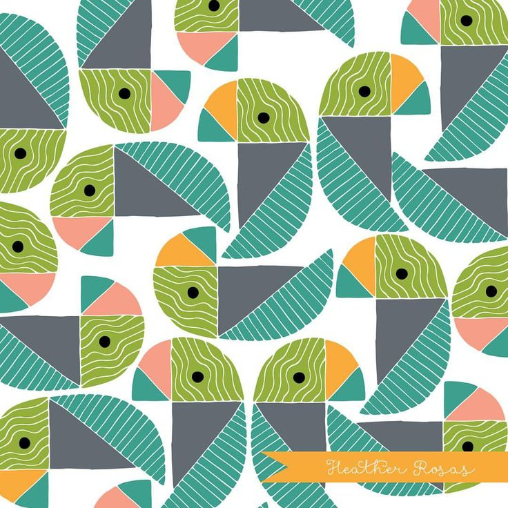 """0 Likes, 1 Comments - Heather Rosas (@heatherrosasart) on Instagram: """"Geometric Parrots from my Jungle Aviary Collection. . . . . . #heatherrosas #childrensillustration…"""""""