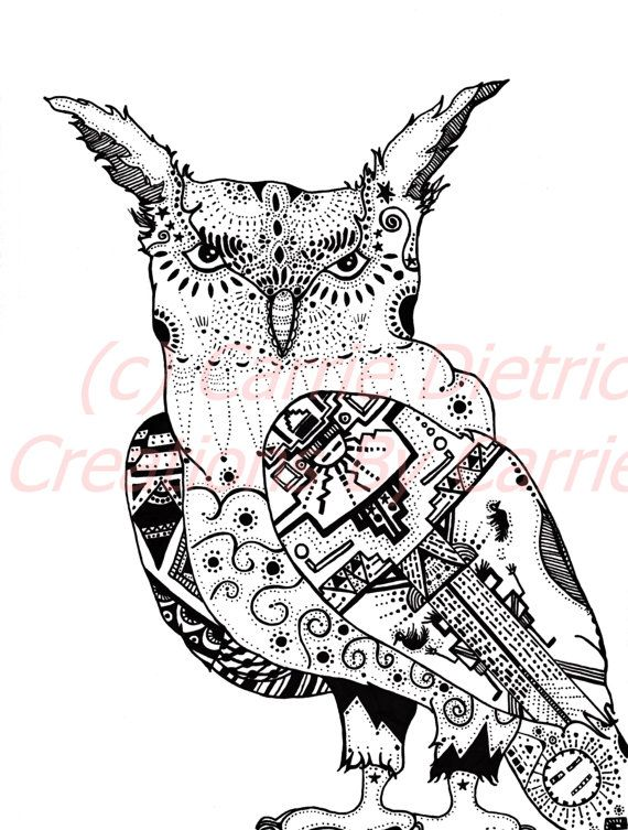 Owl Art, 4 W x 6 H Print, Roselynn This is Roselynn my southwestern inspired owl who I picture to be strong, fierce and spiritual. She was