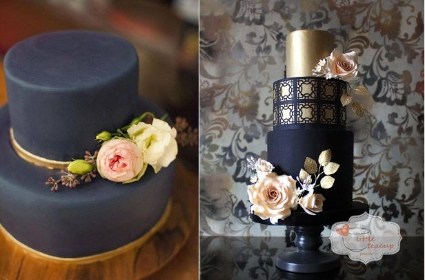 black wedding cakes with gold by Innovative Cake Designs left and Little Teacup Bakery right