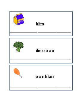 Spelling Food Word Scramble Game Fun-Stuff. Words include Corn, Egg, Ham, Yogurt, Carrot, Milk, Broccoli, Chicken, Cake, Grapes, Cookie, Strawberry, Bread, Banana, Ice Cream, Turkey, and Cucumber. Great for Reading Journal Supplement, Literacy Center, Writing Journal Supplement, Grammar, Spelling, ELA.