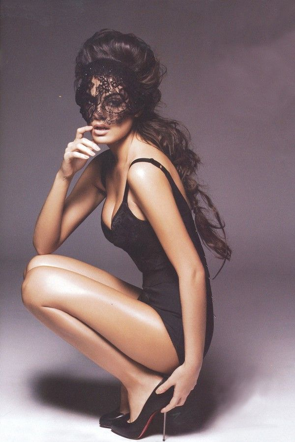: Killers Heels, Black Lace, Lingerie, Dresses Up, Ximena Navarrete, Lace Masks, Beautiful, Big Hair, Masquerades