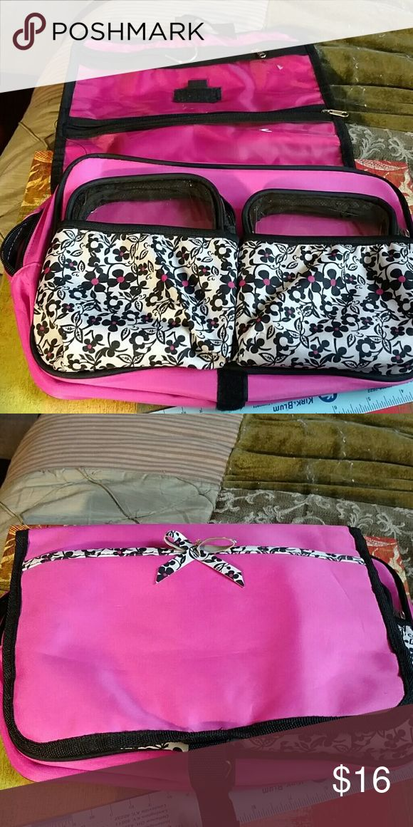 Hanging travel women's caddy Very good condition women's travel caddy medium size pink and black six different compartments Bags Travel Bags
