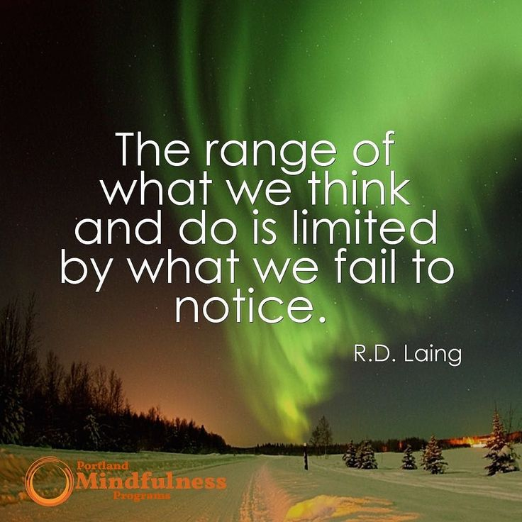 The range of what we think and do is limited by what we fail to notice. - R D Laing