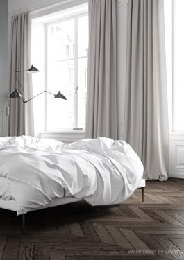 I love the floors and these huge windows. I am not a fan of a platform bed, but I love all white bedding.