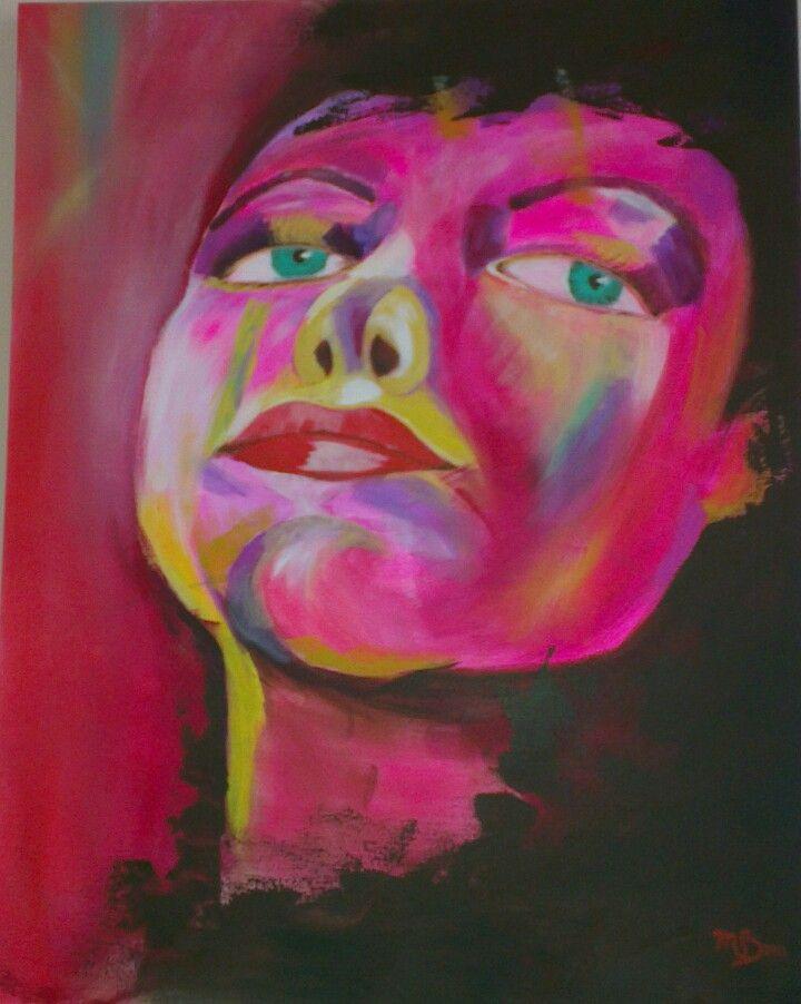 Pink Lady  Acryl 80-100  door Margreet