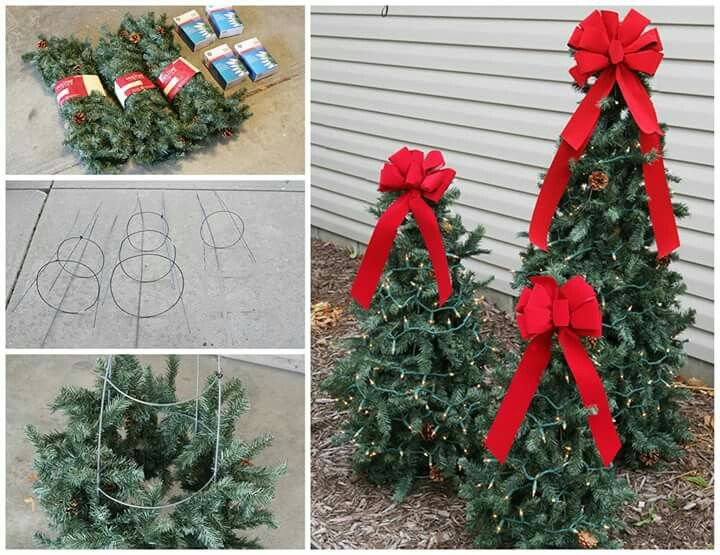 DIY TOMATO CAGE TREES...for Christmas! Love this idea & it looks so easy to make! https://www.pinterest.com/pin/108719778482102322/