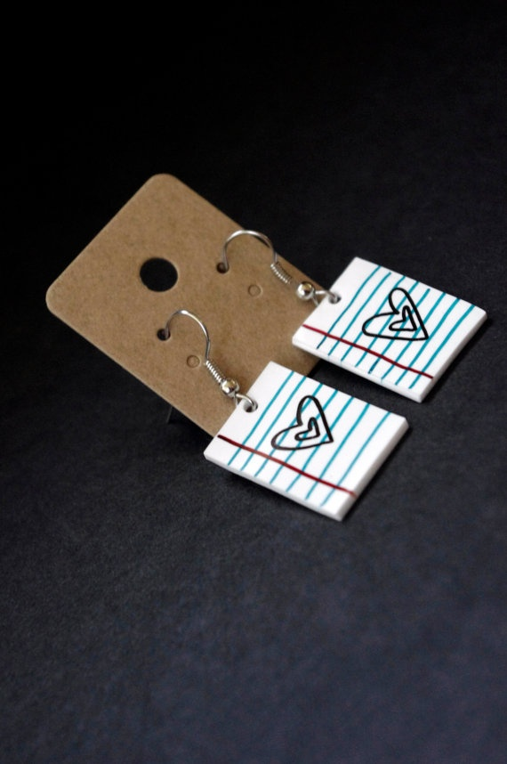 Love Note Shrink Plastic Earrings by Cyclop on Etsy, $14.00