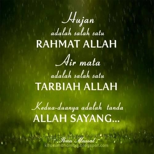 Hujan adalah salah satu rahmat Allah. Air mata adalah salah satu tarbiah Allah. Kedua-duanya adalah tanda Allah sayang.