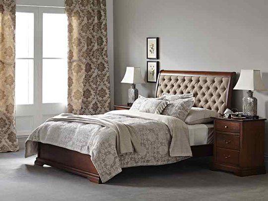 Juliet Queen Bed Frame with upholstered headboard & doona foot main product image 1 1799