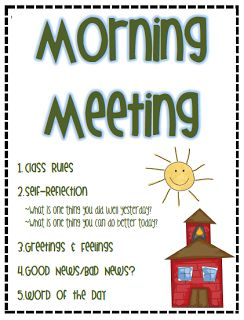 Quality TIme: Morning Meeting. Example agenda. * Have a regular routine for students.