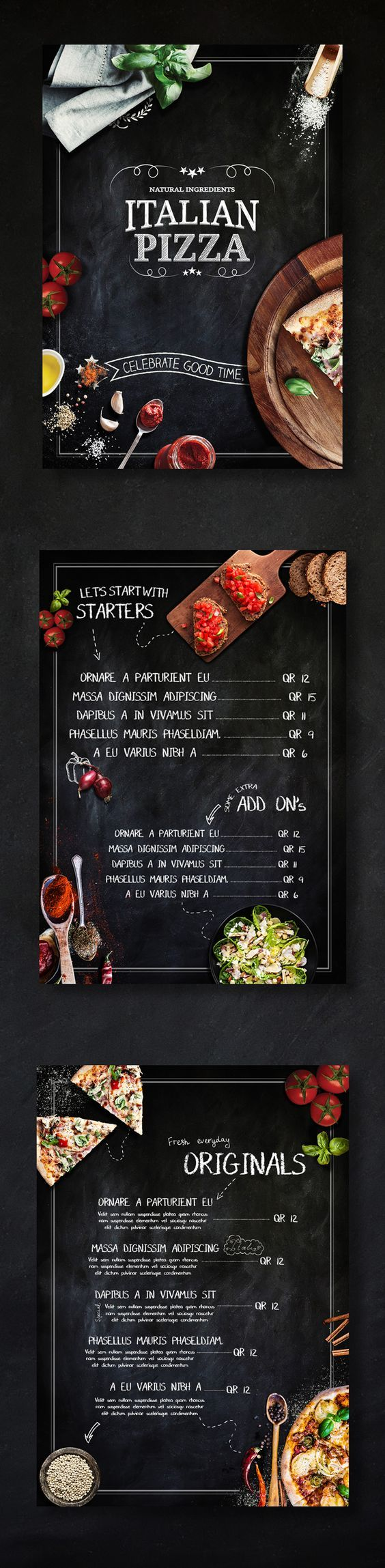 Pizza place menu on Behance: