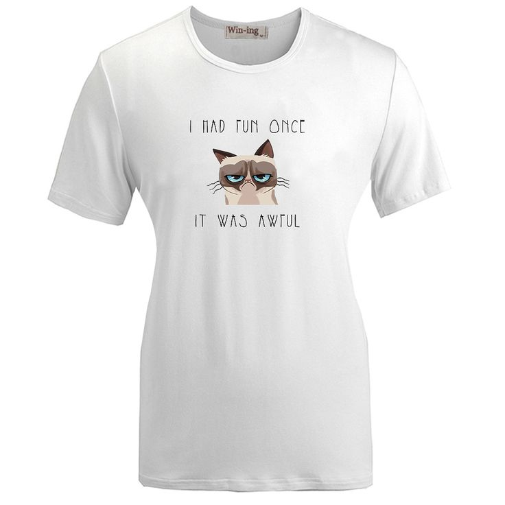 >> Click to Buy << Summer Fashion Casual Cotton T shirt Funny Grumpy Cat I Had Fun Once It Was Awful Graphic Women Girl Short Sleeves T-shirt Tops #Affiliate