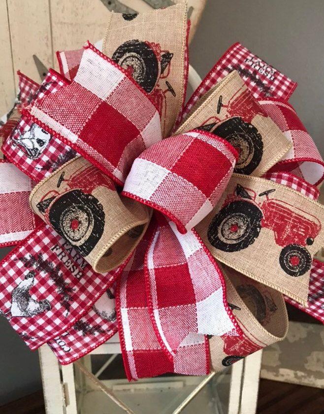 Farmhouse Wreath Bow for Wreath Bow for Lantern Red White