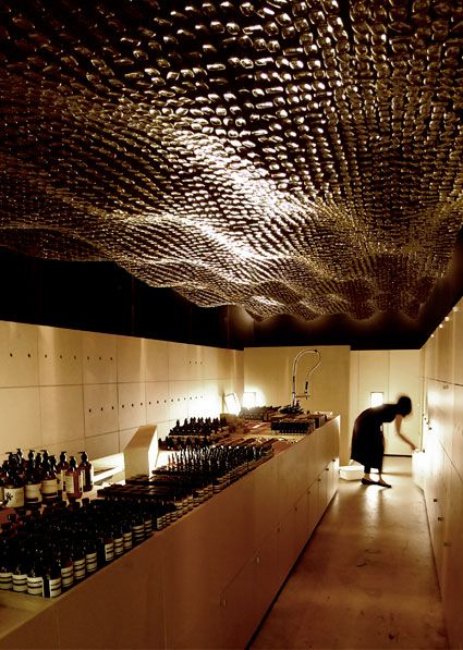 Aesop Adelaide. Using the Aesop glass bottles as the ceiling