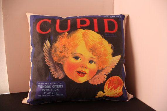 Throw Pillow Orange Crate Label Pillow Vintage Label Pillow