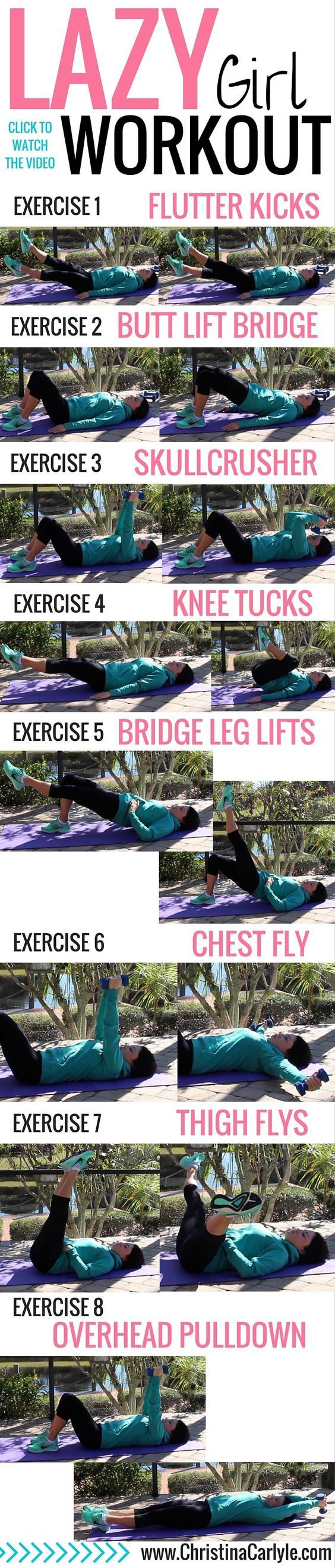Quick easy workout for when you are short on time. Grab some weights and lets do the Lazy Girl workout