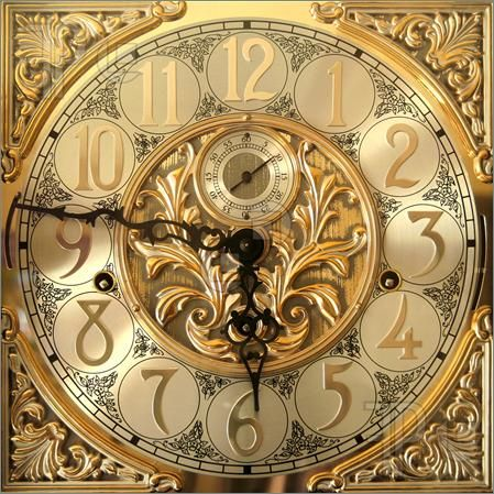 Antique Clock Faces black with gold numbers | Image of Elegant grandfather clock face