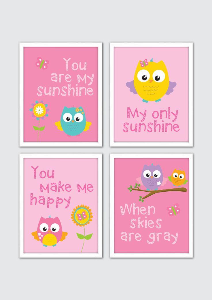 Owl Nursery Art, Owl Art Print, Baby Girl Owl Nursery, Baby Girl Nursery Quote, Owl Nursery Decor, Woodland Nursery Art, You are my sunshine by RomeCreations on Etsy