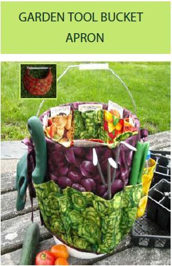 Directions to make a bucket apron - turn any 5-gallon bucket into a plentifully-pocketed organization vehicle for garden tools. Instructions for a 1gal. Ice cream bucket included too. Clicking picture will start tutorial download for both sizes
