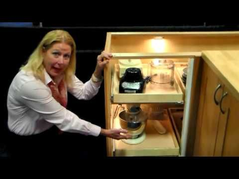 Kitchen Cabinets Solution for Blind Corner Cabinet - YouTube BINGO! we will defiantly be retro fitting our old cabinets with this!!