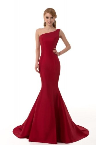 Amazon.com: GEORGE DESIGN Brief Elegant Burgundy Mermaid One-Shoulder Evening Dress: Clothing
