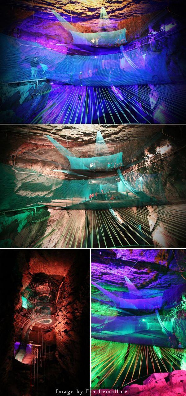 The Best Underground Trampoline Ideas On Pinterest - Gigantic underground trampoline inside cave looks amazing