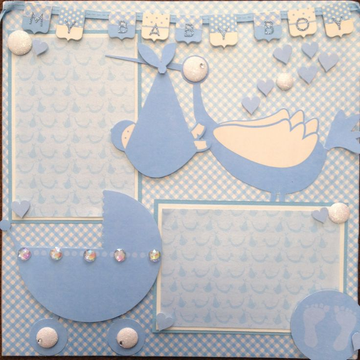 Baby Boy 12 x 12 scrapbook page layout using Reminisce paper and stickers.