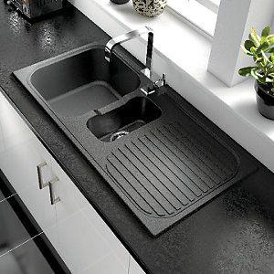 wickes rok metallic 1 1/2 bowl kitchen sink black £99   kitchen