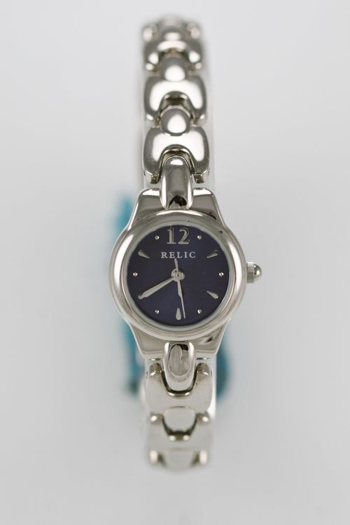 Relic Watch Womens Steel Stainless Silver Water Resistant Battery Blue Quartz