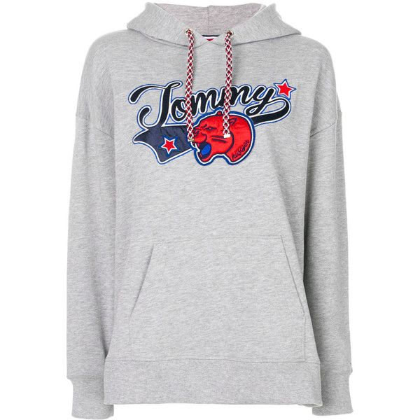 Tommy Hilfiger hoodie with appliqué (7,680 PHP) ❤ liked on Polyvore featuring tops, hoodies, grey, grey hoodie, applique top, gray hooded sweatshirt, hooded pullover and gray hoodies