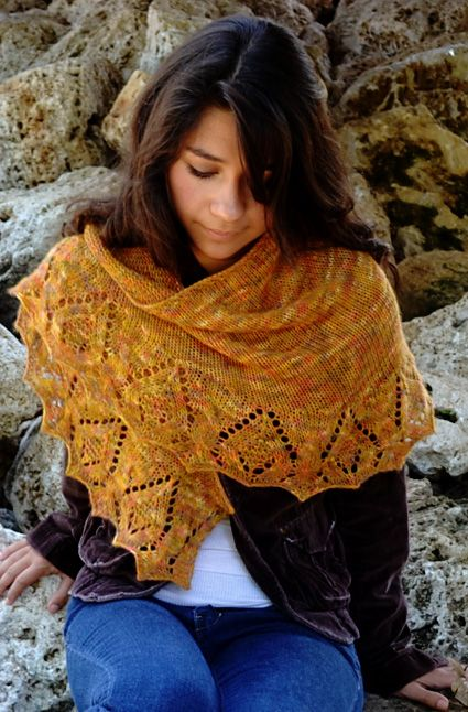 """Beithe from Susanna IC. Free on knitty. 400 yds DK/light fingering weight. 16""""x43"""" crescent, I-cord bind off."""