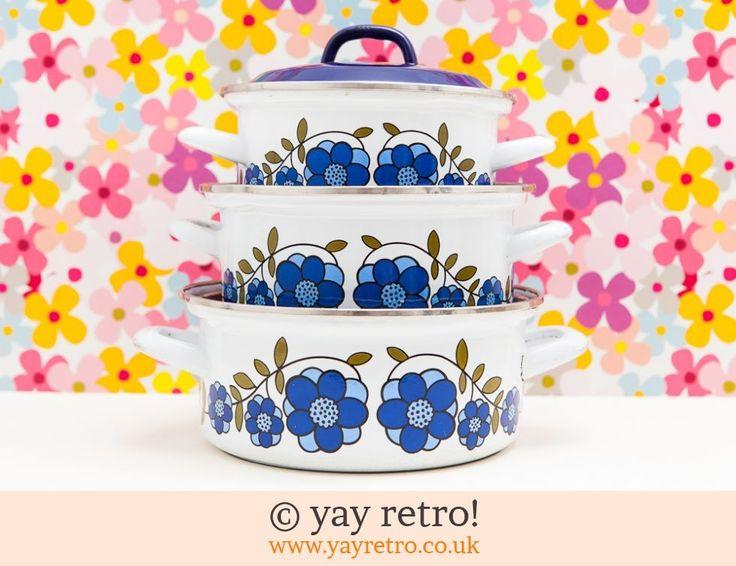 Enamel Floral Pan Set - Retro and Vintage China, Glassware and Kitchenalia - yay retro!