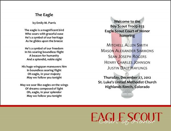 59 best images about bs eagle coh invites programs for Eagle scout court of honor program template