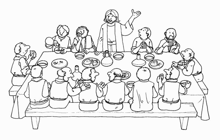 Coloring pages of last supper or apostles ~ last supper coloring page | Religious Ed ~ Easter/Lent ...