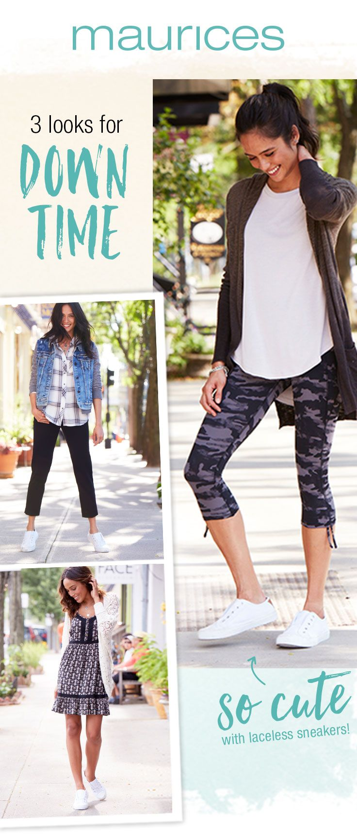 August outfits should be easy! We've pulled 3 looks for downtime. Pair your white sneakers with a dress for a casual ready for anything, daytime look. Throw them on with your fave active leggings to go beyond the gym. Or, add a pair of white sneakers to your Saturday #ootd! Shop these looks now on maurices.com!