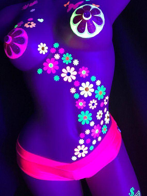 Black light Daisy Body Stickers- EDC Costume - Neon Daisy s - Blacklight  Glow Party 504c04b98