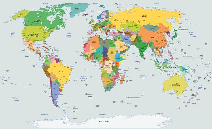 Wereldkaart behang L Afmeting: 254 cm breed x 184 cm hoog Materiaal: speciaal papier Lijm: wordt meegeleverd Delen: 2 stuks rijs: 54,95