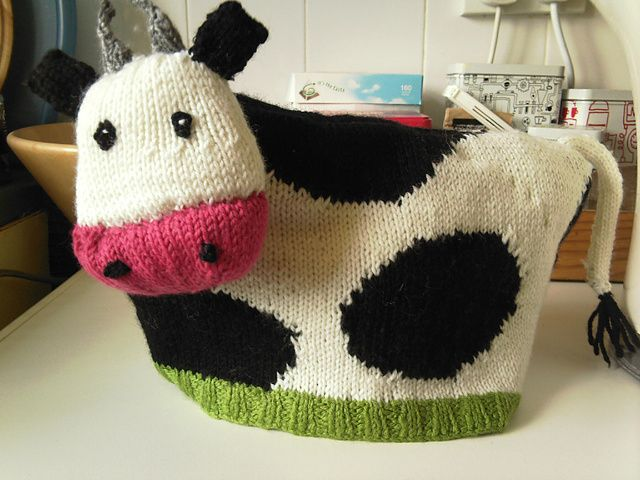 Knit or Crochet tea cozy! / Cow kitchen item - what is there not to love?