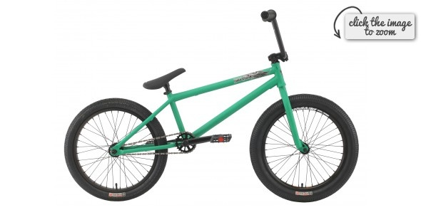 £263.50 - Premium Solo Plus BMX Bike | Matte Green - Premium frame w/ crmo downtube Mid BB & Internal HS 20.5TT Odysey twisted plastic pedals 8 rise bar Alloy front load stem 3 piece crmo 175mm 8 spline cranks w/ sealed BB 25/9 gearing Alloy sealed bearing cassette hub w/ 9t driver & 14mm axles Premium street tyres 2.25 front & 2.0 Rear Premium slim padded seat w/ built in alloy post.