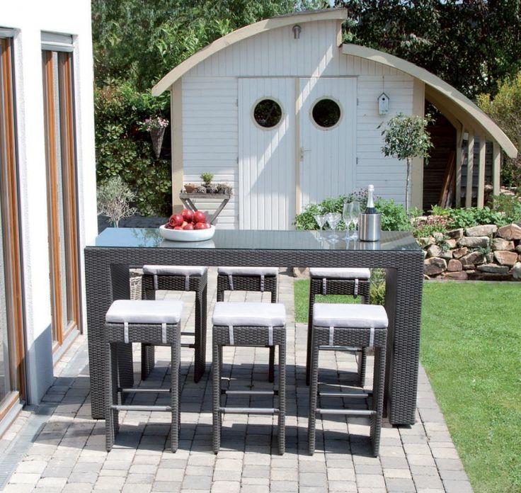Beautiful Siena Garden Dayton Geflecht Garten Lounge Bar Set anthrazit teilig