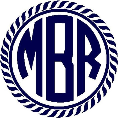 Personalized Nautical Rope Circle Monogram Vinyl Sticker