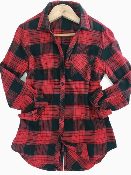 therollinj.com Red and black. Classic plaid button down shirt with adorable back button detail!  A little bit festive but perfect for fall and winter. Fall fashion. Winter basics. Favorite plaids.