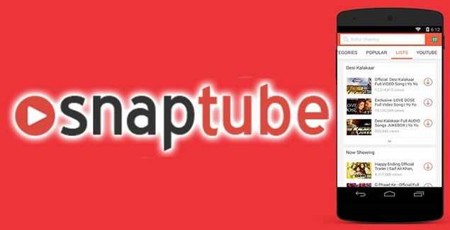 تطبيق SnapTube لتحميل ملفات الفيديو من اليوتيوب والفيس بوك وأكثر من 50 موقع آخر
