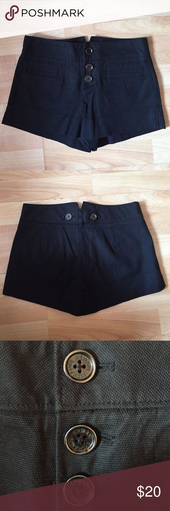 Armani Exchange Black High Waisted Shorts High waisted black fitted fabric shorts with silver buttons. 1 inch inseam. In good condition, WORN TWICE. Armani Exchange Shorts