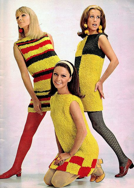 Mod 60s, Go Go fashions #sixties  vintage 1960s dresses red yellow black shift dress knit nubby sweater stripes checks tights hair shoes style color photo print ad models magazine 60s