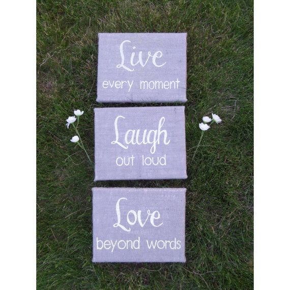 Live Laugh Love burlap signs set of 3 8x10 inch by Instinct2create