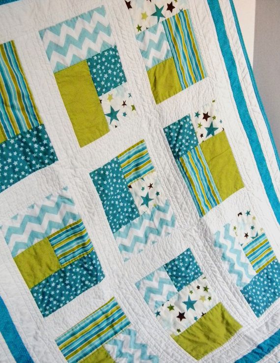 Turquoise Chevron and Stars Baby Crib Quilt by SWDesignsBaby, $115.00