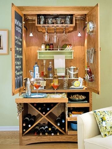 Aprons and Apples: re-purpose an old armoire or stand alone cabinet into bar, baby closet, garden shed etc...